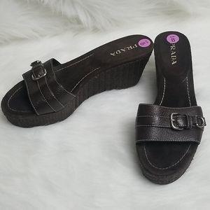 Prada dark brown leather/suede straw wedge shoes